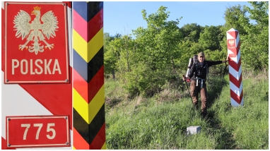 Laura traverse sa première frontière à pieds. Laura cross her first border by foot. Laura überquert ihre erste Landesgrenze per Fuß.