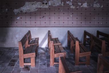 Inside an old church.